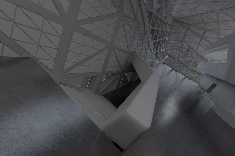 Diseño 3D hall o atrio moderno - SGH Formación.